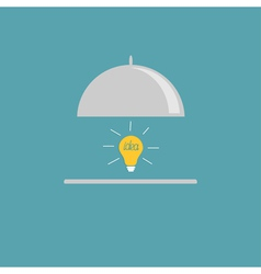 Silver platter cloche and yellow idea light bulb F vector image