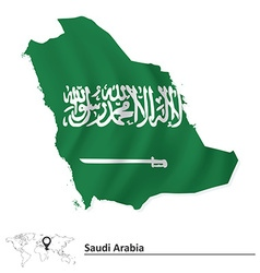 Map of saudi arabia with flag vector