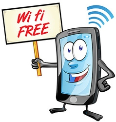 Fun mobile cartoon with wi fi signboard vector
