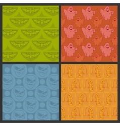 Set of halloween seamless patterns vector