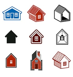 Simple cottages collection real estate and vector