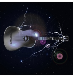Guitar in space with lightning vector