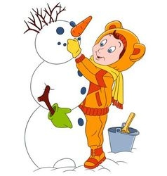Cute and happy cartoon boy and a snowman vector
