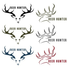 Deer hunter vintage emblems set vector