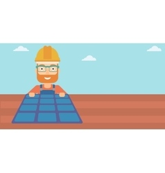 Constructor with solar panel vector