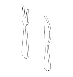 Fork and knife icon isometric 3d style vector
