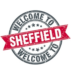Welcome to sheffield red round vintage stamp vector