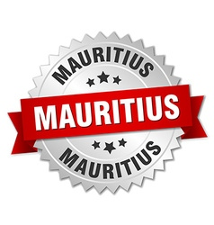 Mauritius round silver badge with red ribbon vector
