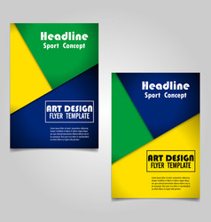 Colorful geometric book cover layout design vector