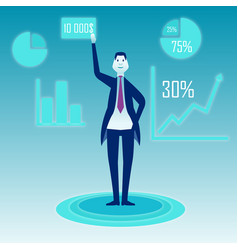 a businessman stands on a blue background and vector image vector image