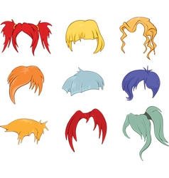 A set of hairstyles wigs for vector image vector image