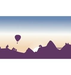 Beautiful landscape with air balloon and bridge vector