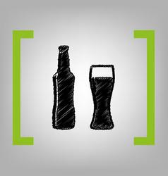 Beer bottle sign black scribble icon in vector