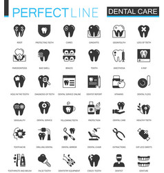 black classic dental web icons set vector image vector image