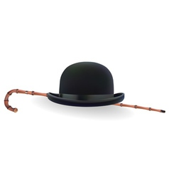Bowler hat and bamboo cane vector