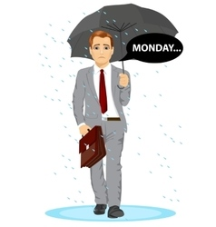 businessman holding umbrella walking sad to work vector image