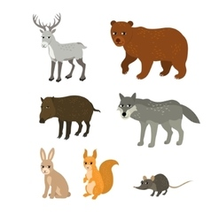 Cartoon set northern deer bear boar wolf rabbit vector