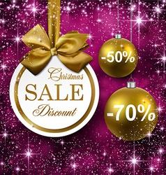 Christmas golden balls on purple background vector image