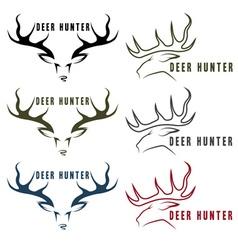 Deer hunter vintage emblems set vector