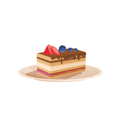 delicious layered dessert drizzled with chocolate vector image