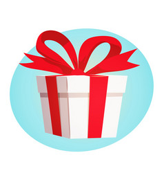Gift box with red ribbon and bow design concept vector