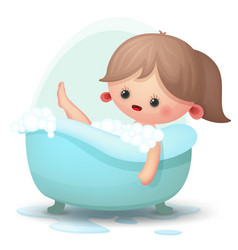 Girl taking a bath vector