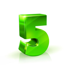 Glossy green five 5 number 3d on vector