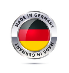 glossy metal badge icon made in germany vector image vector image