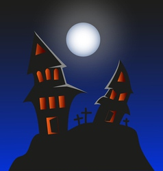 Haunted Monster house - Halloween background vector image