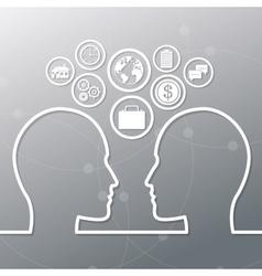 Human head and icon set design vector