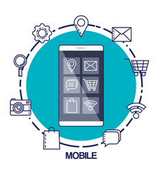 Mobile marketing commerce electronic concept vector