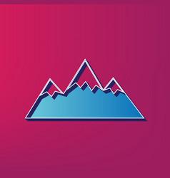Mountain sign blue 3d vector