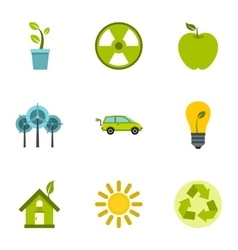 Natural environment icons set flat style vector