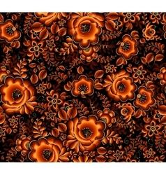 Orange floral seamless pattern on black background vector image vector image