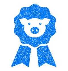 Pig award stamp icon grunge watermark vector