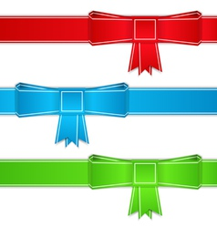 Ribbons with bows origami style vector image vector image