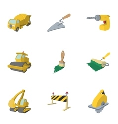 Road building tools icons set cartoon style vector
