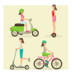 set of girls riding modern street transport vector image