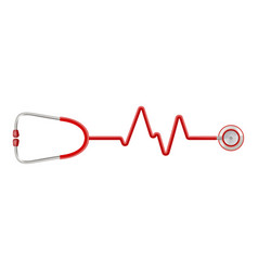 stethoscope in the shape of a heart beat on a ekg vector image