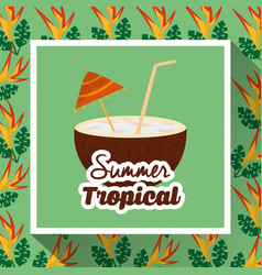 Summer tropical coconut drink coctail flower vector