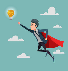 super businessman flying to idea light bulb vector image