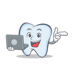 tooth character cartoon style with laptop vector image vector image