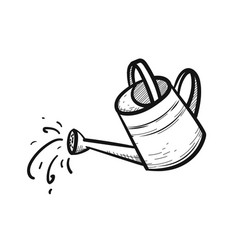 Watering can hand drawn sketch icon vector