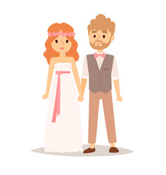 Wedding couple beautiful model girl in vector