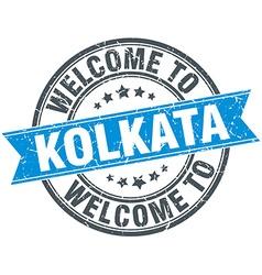 Welcome to kolkata blue round vintage stamp vector