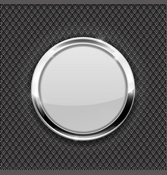 white round glass button on perforated background vector image