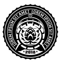 wooden beer barrel emblem of vector image vector image