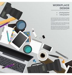 Workspace of the photographer videographer mock up vector