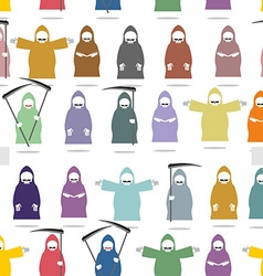 Funny death in bright robes seamless pattern vector