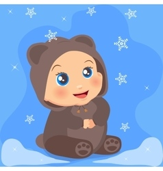 Cute baby girl in suit with ears vector